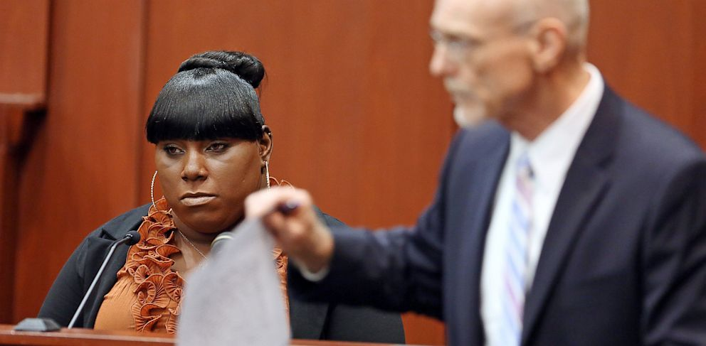 PHOTO: Witness Rachel Jeantel, left, continues her testimony to defense attorney Don West on day 14 of George Zimmermans trial in Seminole circuit court in Sanford, Fla., June 27, 2013.