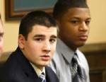 PHOTO: Trent Mays, 17, left, and 16-year-old Malik Richmond sit at the defense table before the start of their trial on rape charges in juvenile court, March 13, 2013 in Steubenville, Ohio. Mays and Richmond are accused of raping a 16-year-old West Virgi