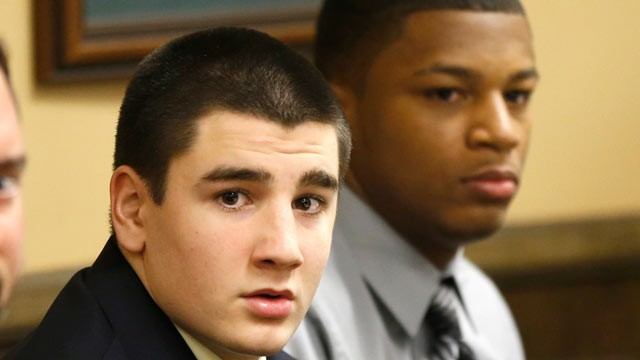 PHOTO: Trent Mays, 17, left, and 16-year-old Ma'lik Richmond sit at the defense table before the start of their trial on rape charges in juvenile court, March 13, 2013 in Steubenville, Ohio. Mays and Richmond are accused of raping a 16-year-old West Virgi