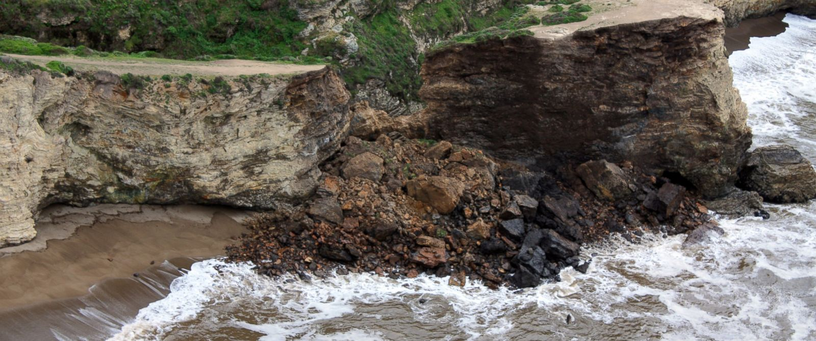 PHOTO: This photo provided by Point Reyes National Seashore shows a rockslide at Arch Rock within Point Reyes National Seashore on the Northern California coast north of San Francisco Sunday, March 22, 2015.