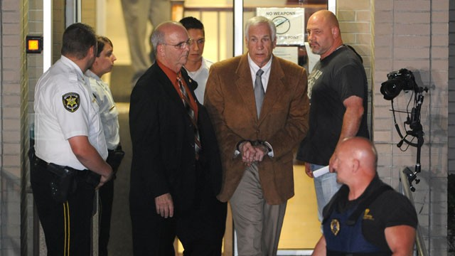 PHOTO:&nbsp;Jerry Sandusky leaves the Centre County Courthouse Friday, June 22, 2012, after being found guilty in his sexual abuse trial, at the Centre County Courthouse, in Bellefonte, Pa.