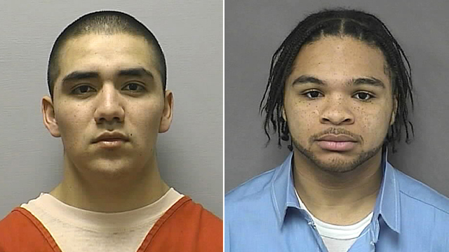PHOTO: Santos Carrera-Morales, left and Eric James, two of four people who broke out of the Ottawa County Jail in Minneapolis, Kan. April 18, 2012.