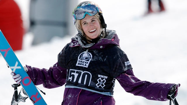 PHOTO: Sarah Burke, of Canada, is seen in this Jan. 28, 2010, file photo during the women's final at the Winter X Games at Buttermilk Mountain outside Aspen, Colo.