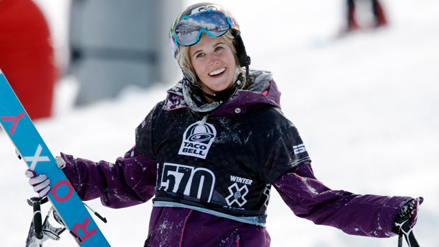 PHOTO: Sarah Burke, of Canada, is seen in this Jan. 28, 2010, file photo during the womens final at the Winter X Games at Buttermilk Mountain outside Aspen, Colo.