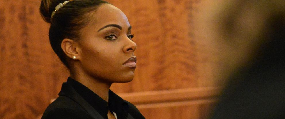 PHOTO: Shayanna Jenkins, the fiancee of former New England Patriots football player Aaron Hernandez, listens during his murder trial at Bristol County Superior Court, Feb. 5, 2015, in Fall River, Mass.