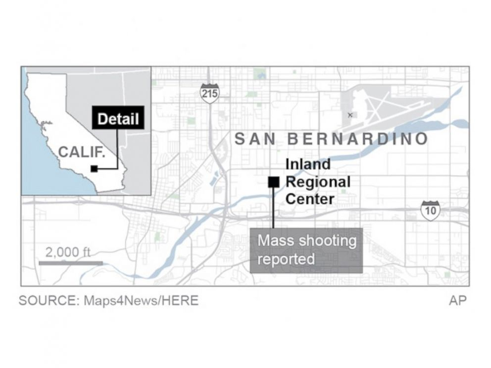 PHOTO: Graphic locates shooting in San Bernardino.