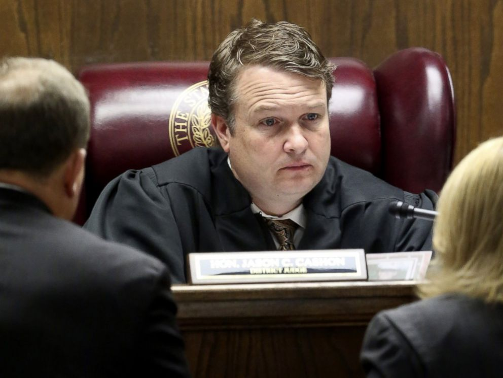 PHOTO: State District Judge Jason Cashon speaks to attorneys during the capital murder trial of former Marine Cpl. Eddie Ray Routh on Feb. 19, 2015, in Stephenville, Texas.