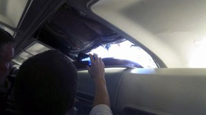passenger photo of hole in southwest plane