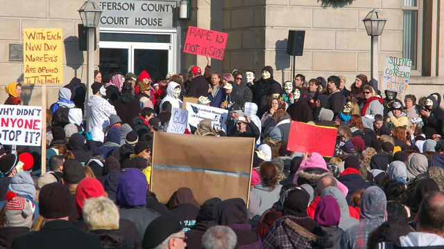 PHOTO: Activists from the online group KnightSec and Anonymous protest are shown at the Jefferson County Courthouse in Steubenville, Ohio, Jan. 5, 2013.