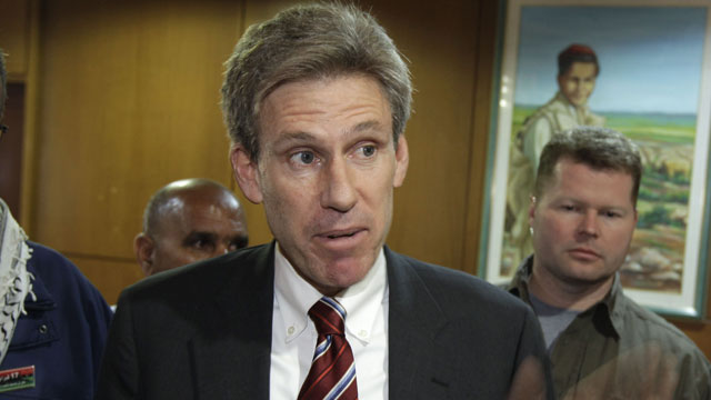 PHOTO: In this Monday, April 11, 2011 file photo, U.S. envoy Chris Stevens speaks to local media at the Tibesty Hotel where an African Union delegation was meeting with opposition leaders in Benghazi, Libya.