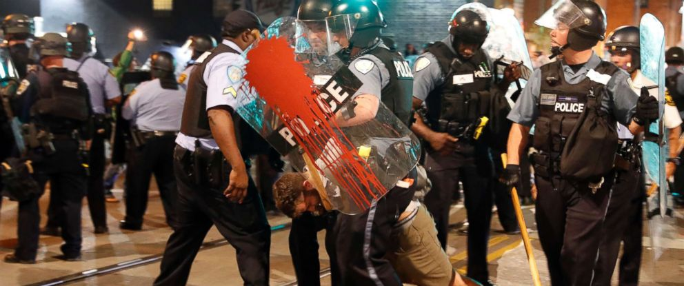 PHOTO: Police arrest a man as they try to clear a violent crowd Saturday, Sept. 16, 2017, in University City, Mo. Earlier, protesters marched peacefully in response to a not guilty verdict in the trial of former St. Louis police officer Jason Stockley.