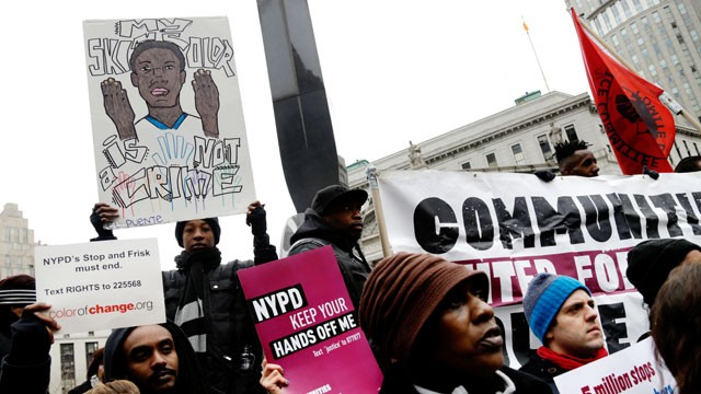 PHOTO: Protesters participate in a rally near the federal courthouse in New York, March 18, 2013.