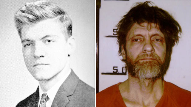 PHOTO: Ted Kaczynski, also known as the Unabomber, as a student of 16 at Harvard University and in his booking mugshot after being sentenced to eight life sentences in 1996.