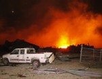 PHOTO: A fire burns at a fertilizer plant in West, Texas after an explosion, April 17, 2013.