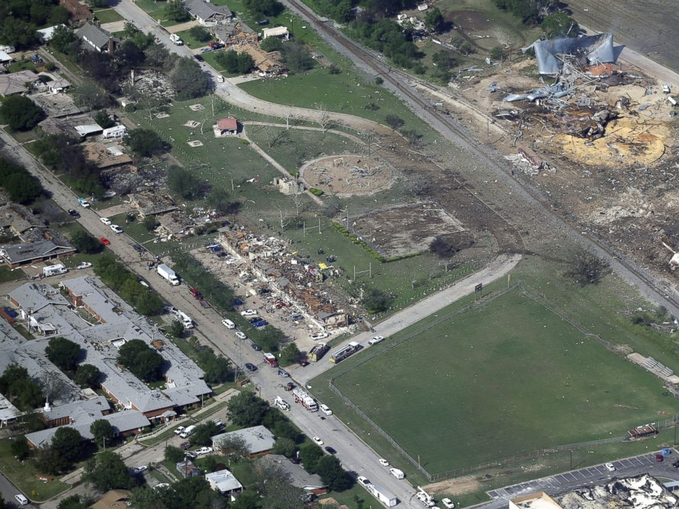 PHOTO: An April 18, 2013 aerial photo shows the remains of a nursing home, left, apartment complex, center, and fertilizer plant, right, destroyed by an explosion at a fertilizer plant in West, Texas.