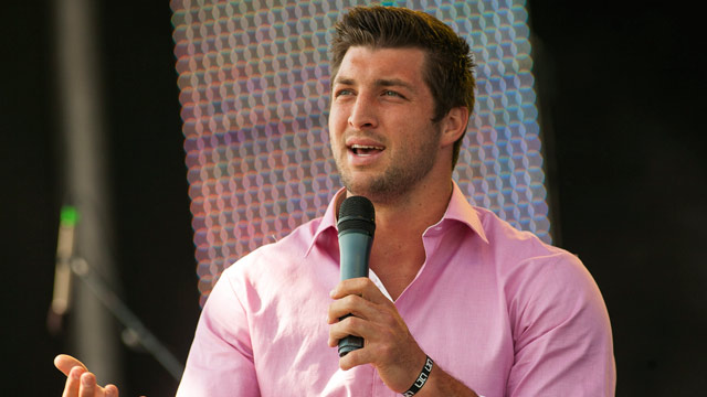 PHOTO: New York Jets quarterback Tim Tebow speaks at the Easter service of Celebration Church in Georgetown, Texas, Sunday, April 8, 2012.