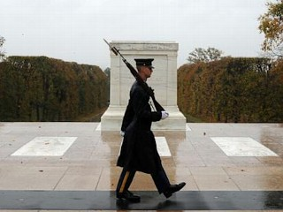 Soldiers Guard the Tomb of Unknowns During Hurricane