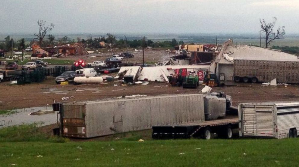 PHOTO: This photo provided by KDLT shows damaged buildings in Wessington Springs, S.D., after a tornado hit the town damaging homes and businesses, June 18, 2014.