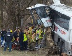 PHOTO: Emergency and rescue crews respond to the scene of a tour bus crash on the Pennsylvania Turnpike on Saturday, March 16, 2013 near Carlisle, Pa.