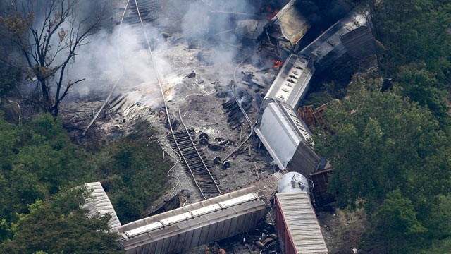 PHOTO: A fire burns at the site of a CSX freight train derailment, May 28, 2013, in Rosedale, Md.