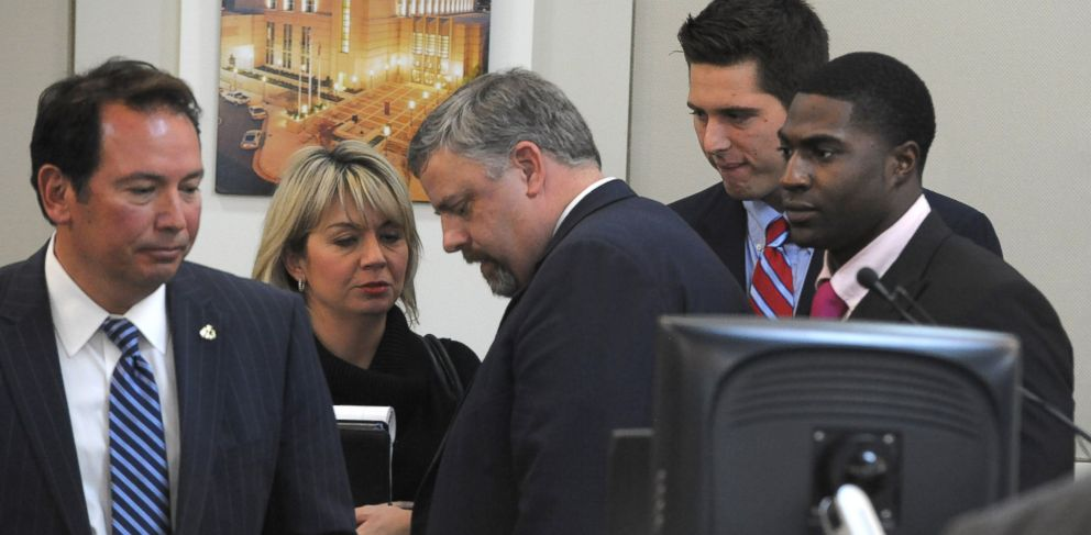 PHOTO: The defense gatherers after the jury was read the charges against Brandon Vandenburg and Cory Batey on Jan. 27, 2015 in Nashville, Tenn.