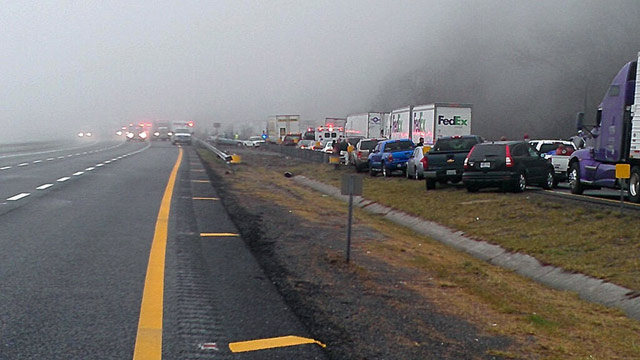 PHOTO: This image provided by WXII Channel 12 news,  shows the scene following a 75-vehicle pileup on Interstate 77 near the Virginia-North Carolina border in Galax, Va., on Sunday, March 31, 2013.