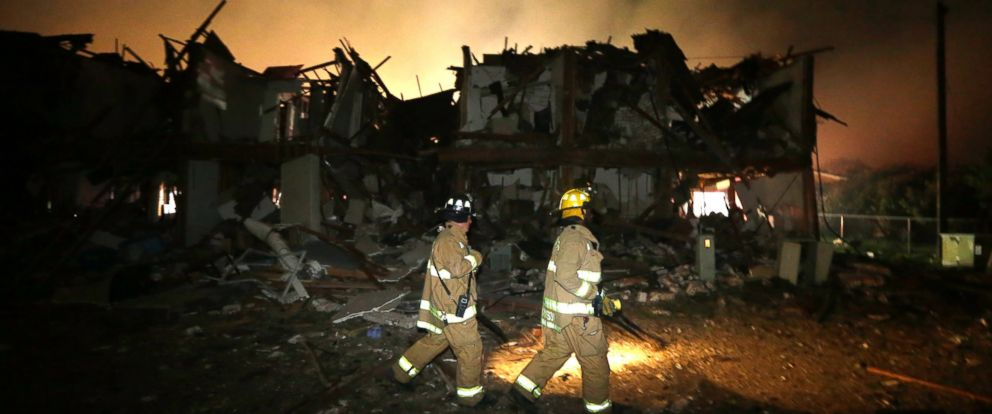 PHOTO: Firefighters check a destroyed apartment complex near the fertilizer plant that exploded earlier in West, Texas, in this photo, April 18, 2013.