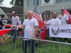 PHOTO: People with a White Lives Matter sign demonstrate in front of the NAACP office in Houston, Texas, Aug. 21, 2016.