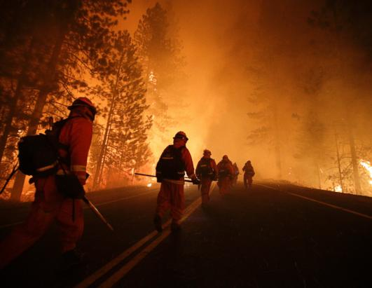 Raging Wildfire in Yosemite National Park