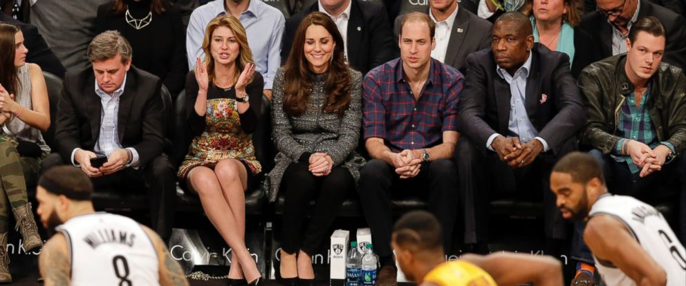 PHOTO: Britains Prince William, third from right, and Kate, Duchess of Cambridge, during the second half of an NBA basketball game between the Brooklyn Nets and the Cleveland Cavaliers, Dec. 8, 2014, in New York.