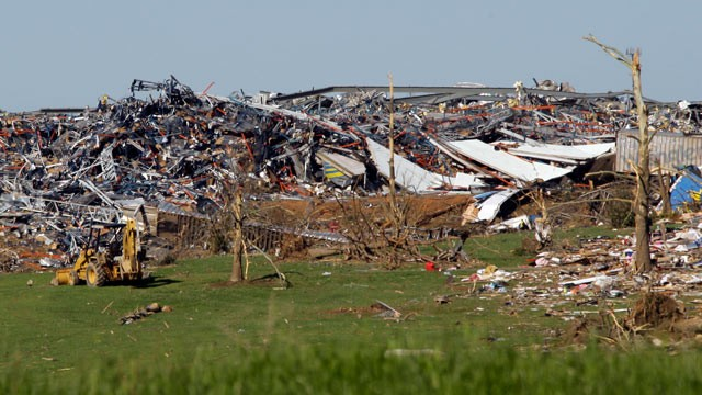 PHOTO: The Wrangler distribution center is destroyed after a tornado touched down in Hackleburg, Ala., April 29, 2011.