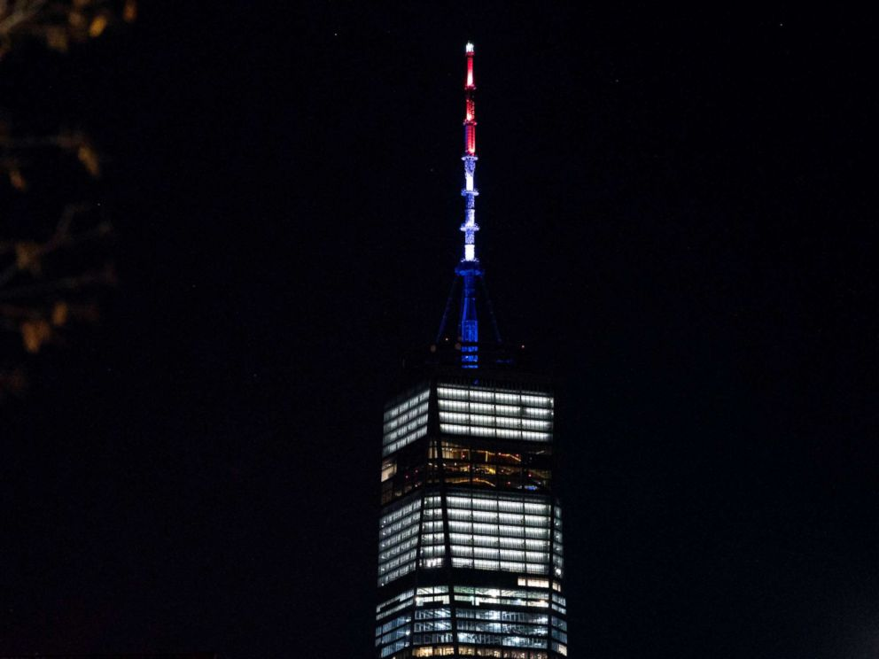 PHOTO: As ordered by New York Gov. Andrew Cuomo, the spire of One World Trade Center is illuminated in red, white and blue following a deadly rampage down a bike path not far from the building Tuesday, Oct. 31, 2017, in New York.