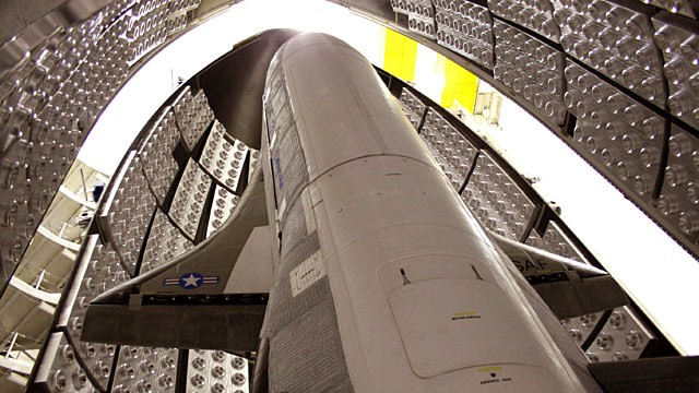 PHOTO: The X-37B Orbital Test Vehicle in the encapsulation cell at the Astrotech facility in Titusville, Fla. in this April 2010 file photo.