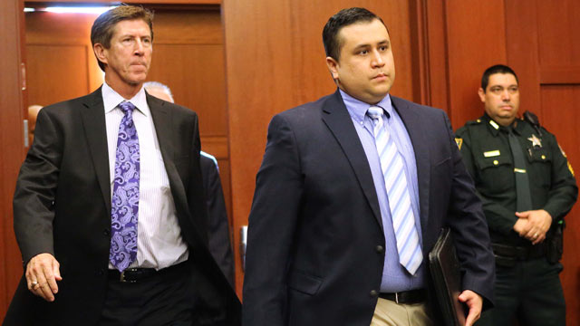 PHOTO: George Zimmerman, center, arrives Seminole circuit court, in Sanford, Fla., Feb. 5, 2013.