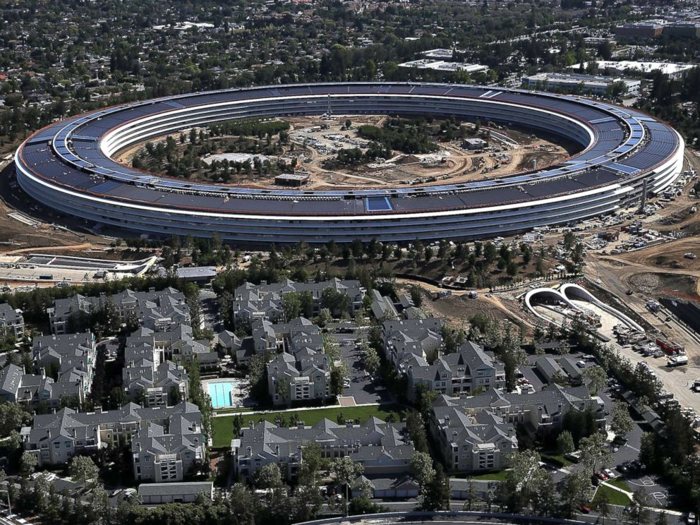PHOTO: An aerial view of the new Apple headquarters, April 28, 2017, in Cupertino, Calif. Apples new 175-acre spaceship campus dubbed Apple Park is nearing completion and is set to begin moving in Apple employees.