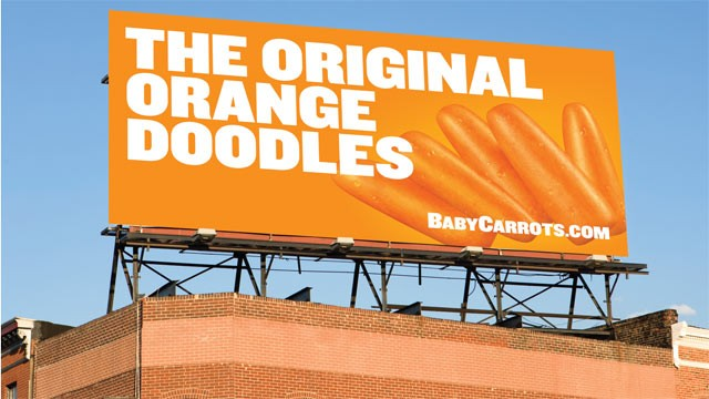 PHOTO: A billboard for carrots that epitomizes Bolthouse Farms' cutting-edge campaign to market carrots as if they were junk food.