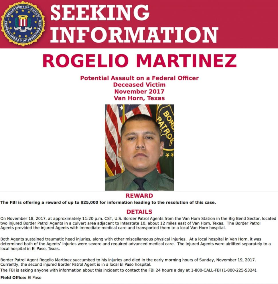 PHOTO: A request for information in the death of U.S. Customs and Border Protection Agent Rogelio Martinez was distributed by the FBI on Nov. 21, 2017 in El Paso, Texas.
