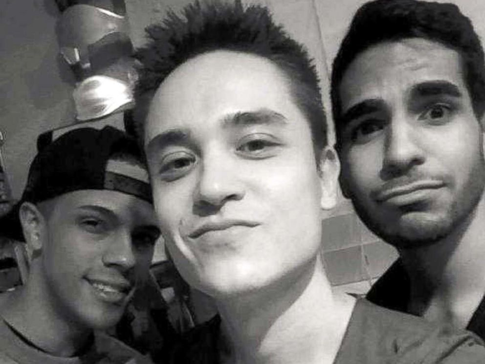 PHOTO: Seen from left to right, Brandon Wolf, Christopher Drew Leinonen and Juan Guerrero. Leinonen and Guerrero were killed among 49 men and women, along with 53 who were wounded at Pulse nightclub in Orlando, Fla., on the night of June 12, 2016.