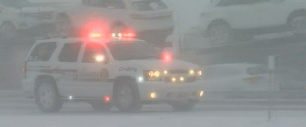 PHOTO: One person is dead and another seriously injured after blizzard conditions caused a pileup on the New York State Thruway near Buffalo involving at least two dozen vehicles.
