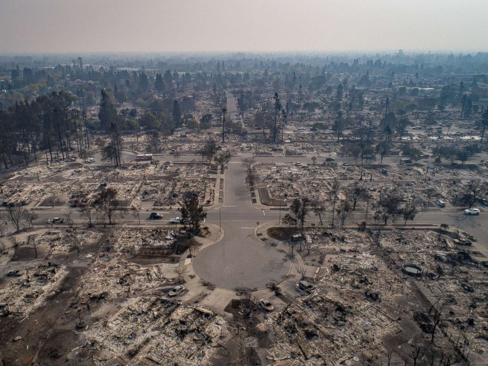 PHOTO: An aerial view of homes burned by wildfire in the Coffey Park neighborhood of Santa Rosa, Calif., Oct. 10, 2017.