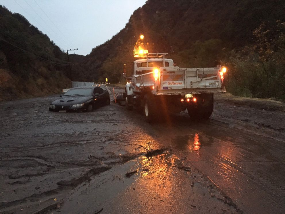 PHOTO: A car is stuck in the mud in La Tuna Canyon after heavy rain caused mudslides in California, Jan. 9, 2018.
