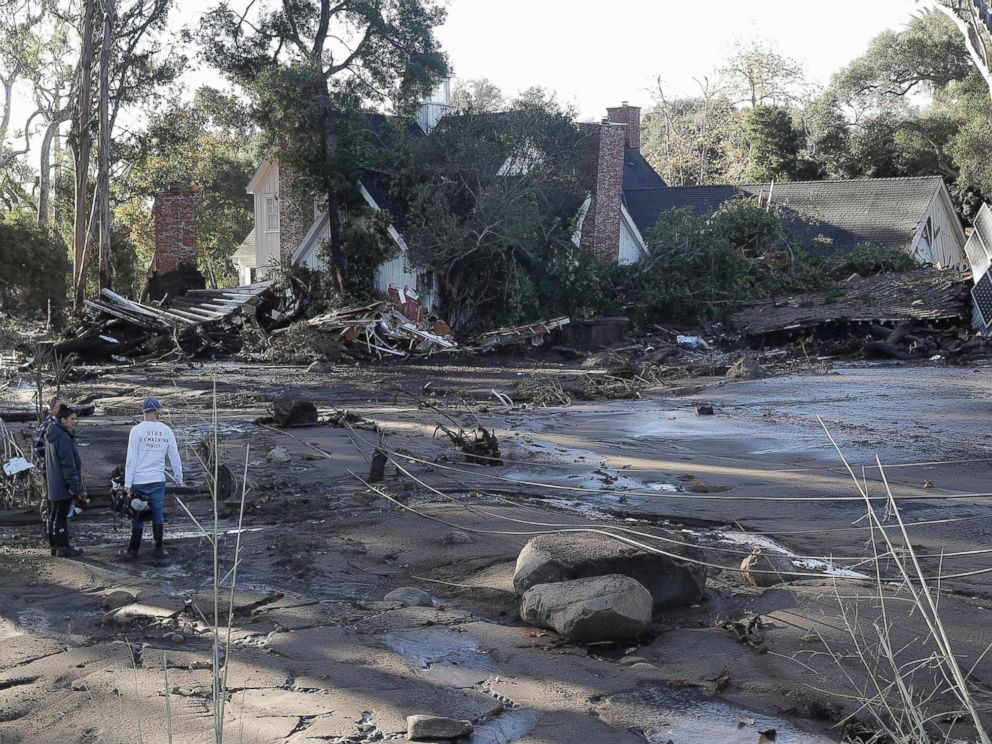 PHOTO: A damaged home in Montecito, Calif., Jan. 10, 2018 after dozens of homes were swept away or heavily damaged after heavy rains brought mud and boulders roaring down hills stripped of vegetation by a wildfire last month.
