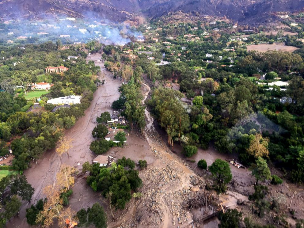PHOTO: Aerial view of Montecito, Calif., where mud and debris covers roads, homes and everything in its path following heavy rains, Jan. 9, 2018.