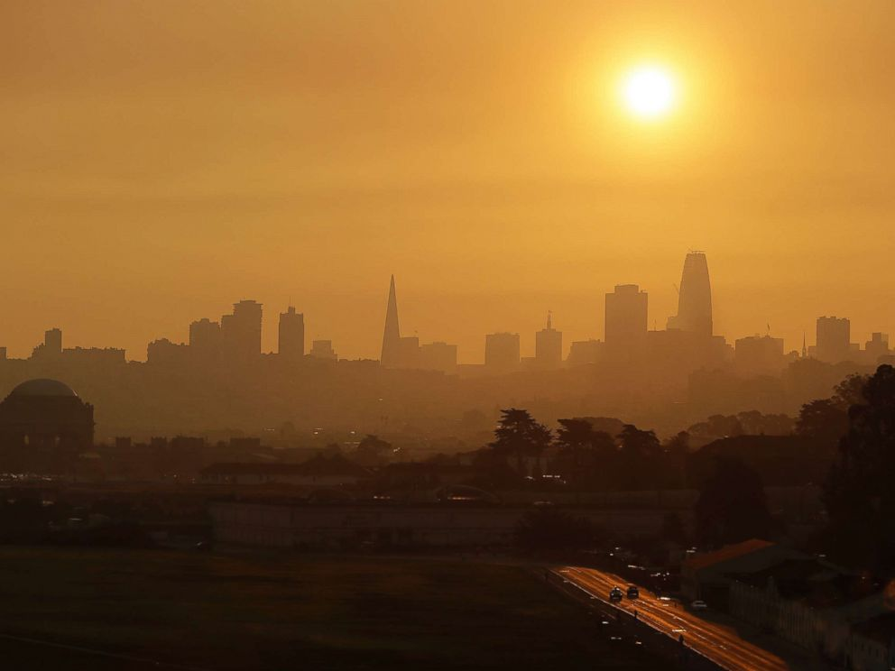 PHOTO: Smoke and haze from wildfires hovers over the skyline, Oct. 12, 2017, in San Francisco.