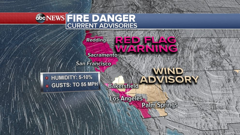 PHOTO: A map shows the areas of California threatened by wildfires as of Oct. 9, 2017.