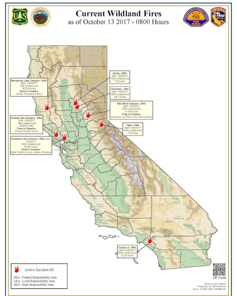 PHOTO: Statewide wildfires map for California, Oct. 13, 2017.