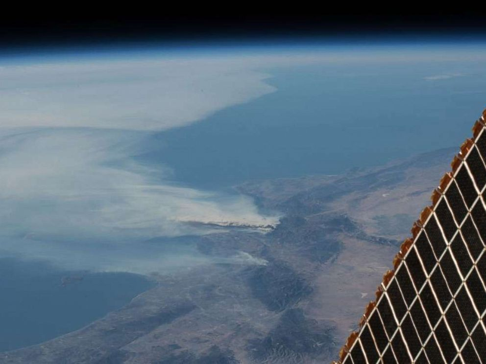 California wildfires: Flames as seen from space