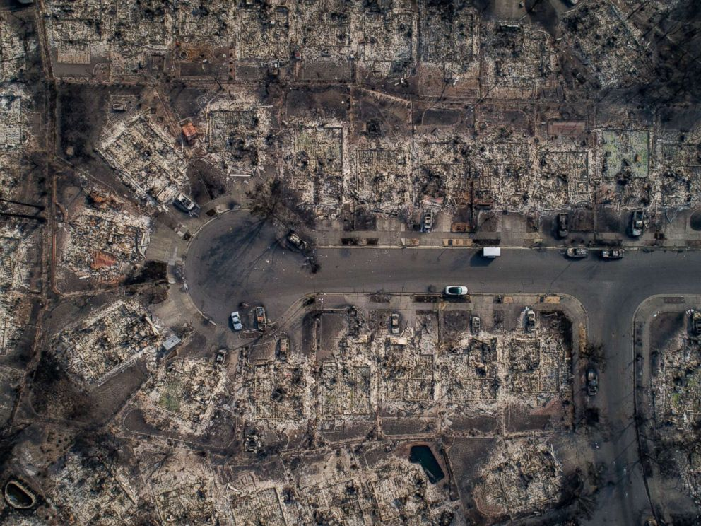 PHOTO: An aerial view of homes burned by wildfire in the Coffey Park neighborhood of Santa Rosa, Calif., Oct. 10, 2017. Fires charred countless acres in Californias wine country.