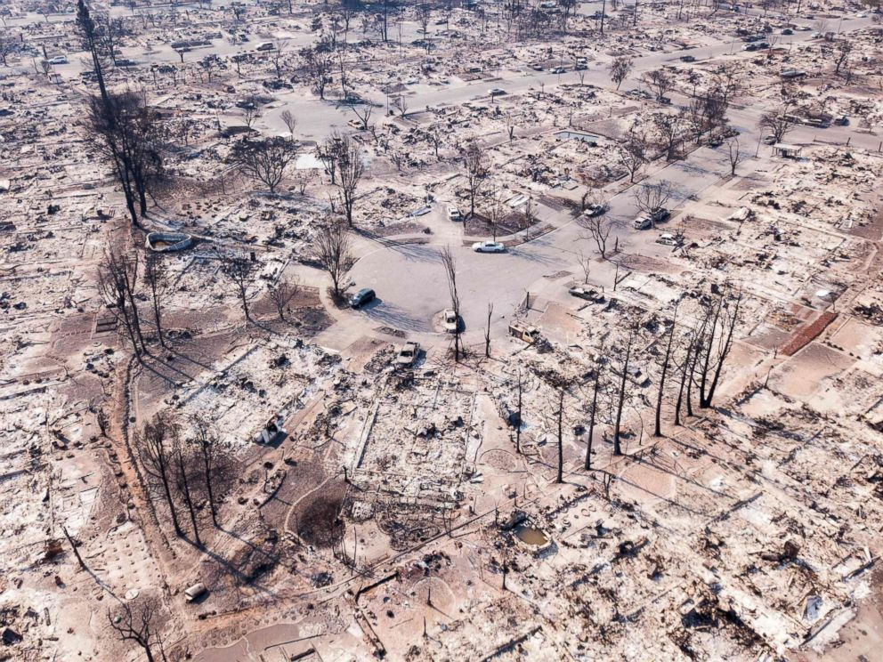 PHOTO: Fire damage is seen from the air in the Coffey Park neighborhood in Santa Rosa, Calif, Oct. 11, 2017. More than 200 fire engines and firefighting crews from around the country were being rushed to California to help battle the fires.