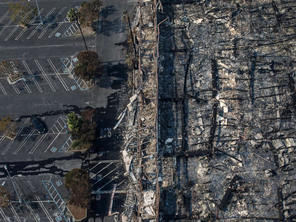 PHOTO: An aerial view of a K-Mart destroyed by the wildfire along the 101 freeway in Santa Rosa, Calif., Oct. 11, 2017.